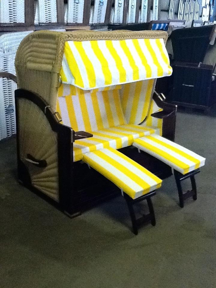 Modell Granitz XXL, PE Rundband beige, Stoff gelb- weiß Festpolster, Liegekorb